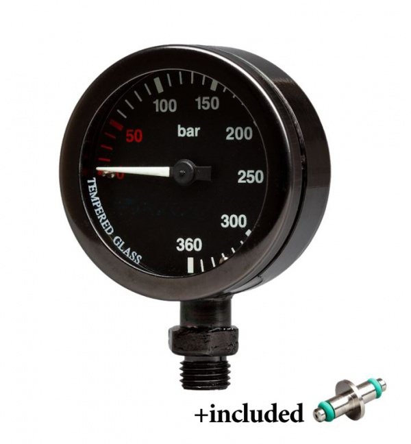 Pressure Gauge 300Bar Black Dial, Black body