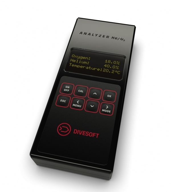 DIVESOFT O2/HE Analyzer with simply flow limiter